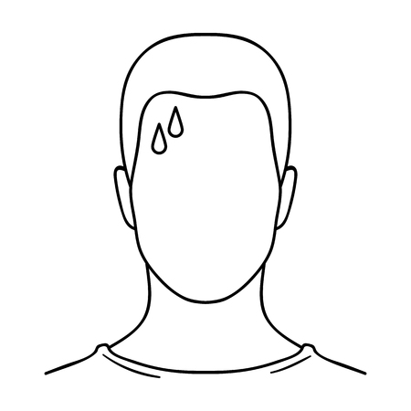 sweaty: A sweaty man.The man is sweating from diabetes.Diabetes single icon in outline style vector symbol stock illustration.