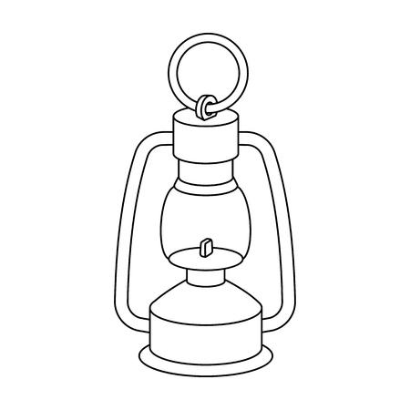 Eine Gaslampe. Das Beleuchtungsgerät von Bergarbeitern. Einzelne Ikone der Wirtschaftsindustrie in der Entwurfsartvektorsymbol-Vorratillustration.
