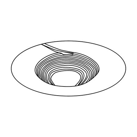 Ein großes Loch im Boden. Die Grube für die Aushöhlung von Mineralien. Minenindustrie einzelnes Symbol im Umrissartvektorsymbol-Vorratillustration.