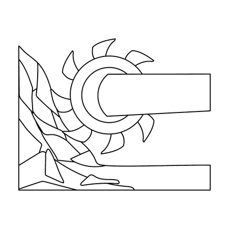 Large cutting wheel. Machine for extraction of minerals.Mine Industry single icon in outline style vector symbol stock illustration.
