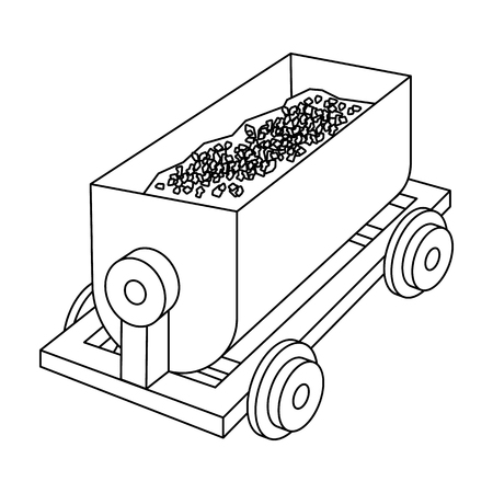r transportation: The red cart on wheels for lifts minerals from deep mines.Mine Industry single icon in outline style vector symbol stock illustration. Illustration