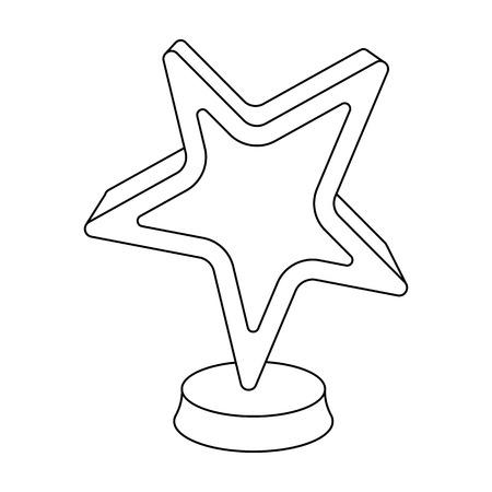 Gouden prijs in de vorm van een ster. De prijs voor de beste rol in een actiefilm. Film kent enig pictogram toe in de illustratie van de het symboolvoorraad van de overzichtsstijl. Stock Illustratie