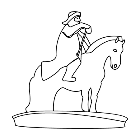 The monument to the military of Mongolia on horseback.The statue stands in Mongolia.Mongolia single icon in outline style vector symbol stock illustration.