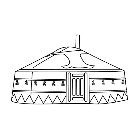 mongols: Tent in the Mongolian patterns.Mongolian tent.Housing the ancient Mongols.Mongolia single icon in outline style vector symbol stock illustration.