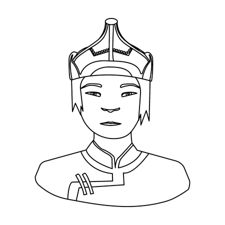 mongols: The Mongols in the helmet.Mongolian national protection.Mongolia single icon in outline style vector symbol stock illustration. Illustration