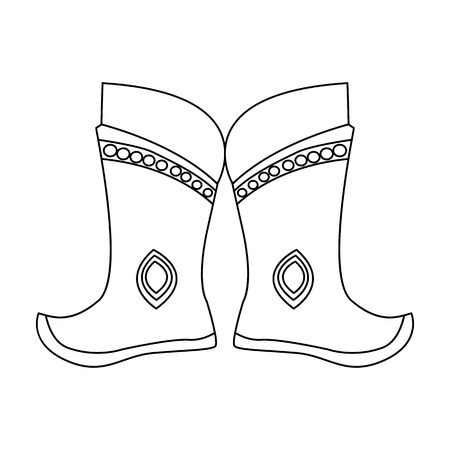 mongols: Military boots of the Mongols.part of the national dress of Mongolia.Mongolia single icon in outline style vector symbol stock illustration.