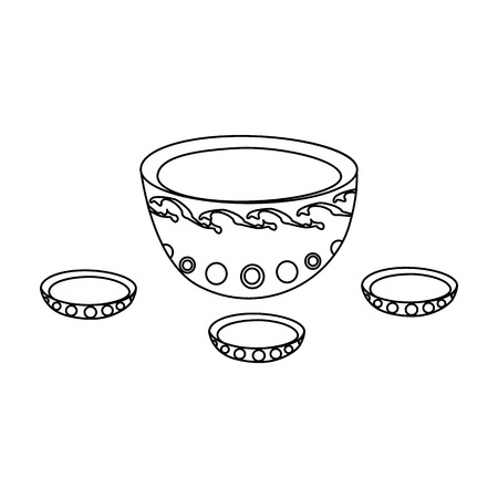 mongols: A plate with three cups and Mongolian ornaments.The national dish of the Mongols.Mongolia single icon in outline style vector symbol stock illustration.