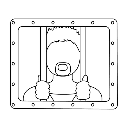 Prisoner icon in outline style isolated on white background. Police symbol stock vector illustration.