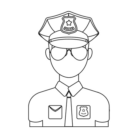 Police officer icon in outline design isolated on white background. Police symbol stock vector illustration.