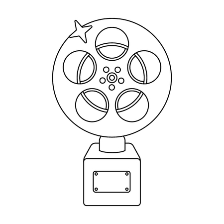 The Golden reel of film.Award for the best playback of the movie.Movie awards single icon in outline style vector symbol stock web illustration. Illustration