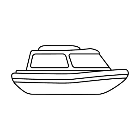coast guard: Orange rescue boat.Boat to rescue the drowning persons.Ship and water transport single icon in outline style vector symbol stock illustration. Illustration