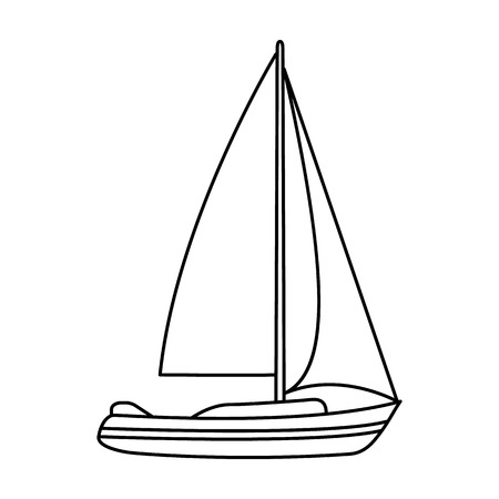 sailingboat: Sailboat for sailing.Boat to compete in sailing.Ship and water transport single icon in outline style vector symbol stock illustration.