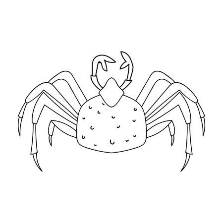 aquaculture: King crab icon in outline style isolated on white background. Sea animals symbol stock vector illustration.