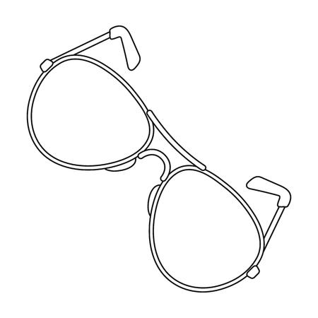 eyewear fashion: Aviator sunglasses icon in outline style isolated on white background. Police symbol stock vector illustration. Illustration