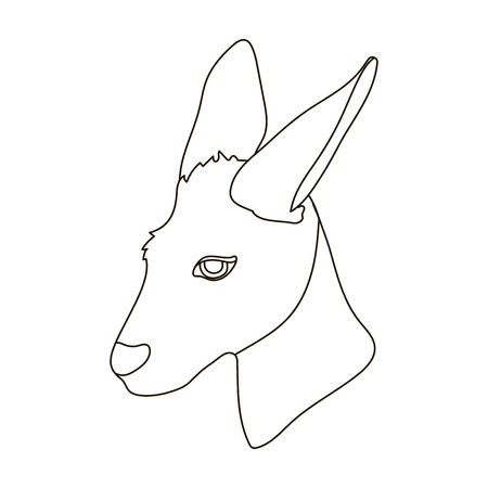 joey: Kangaroo icon in outline style isolated on white background. Realistic animals symbol stock vector illustration.