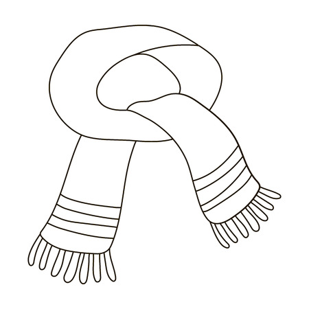 The blue scarf.Winter warm wool scarf for the neck.Scarves and shawls single icon in outline style vector symbol stock illustration. Illustration