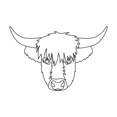 Highland cattle head icon in outline style isolated on white background. Scotland country symbol stock vector illustration.