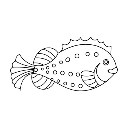 Sea fish icon in outline style isolated on white background. Sea animals symbol stock vector illustration. Ilustrace