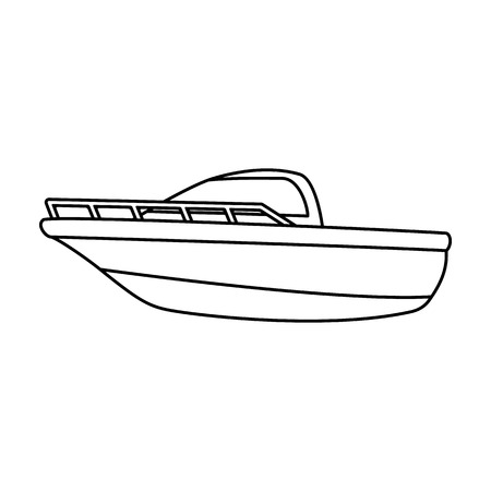 Blue metal boat.Police boat.A means of transportation on water.Ship and water transport single icon in outline style vector symbol stock illustration. Vectores