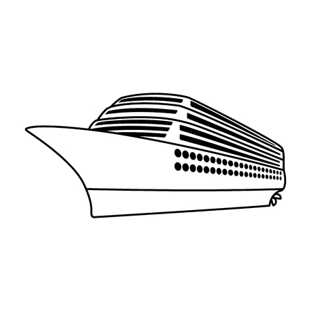 A huge cruise liner.Vehicle for travelling over long distances to a huge number of people.Ship and water transport single icon in outline style vector symbol stock illustration.