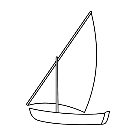Little river sailing for fun.The boat which sails through the wind.Ship and water transport single icon in outline style vector symbol stock illustration.