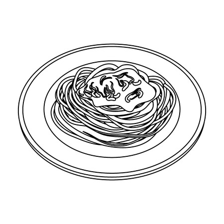 The dish in which wheat spaghetti with red sauce.Main dish vegetarian.Vegetarian Dishes single icon in outline style vector symbol stock illustration.