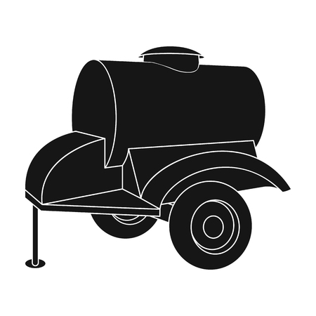 l petrol: Black trailer on wheels with yellow barrel. Agricultural machinery for watering plants.Agricultural Machinery single icon in black style vector symbol stock illustration.