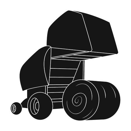Ronde hooibalen. Moderne landbouwmachines voor hooi en rollende cirkels. Landbouwmachines enig pictogram in de zwarte voorraadillustratie van de stijl vectorsymbool. Vector Illustratie