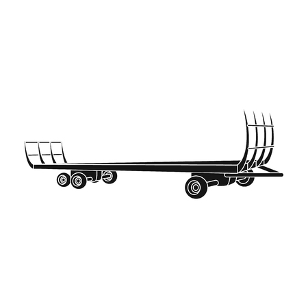 hauling: Specialized trailer on wheels for trucks for transportation of hay bales.Agricultural Machinery single icon in black style vector symbol stock illustration. Illustration