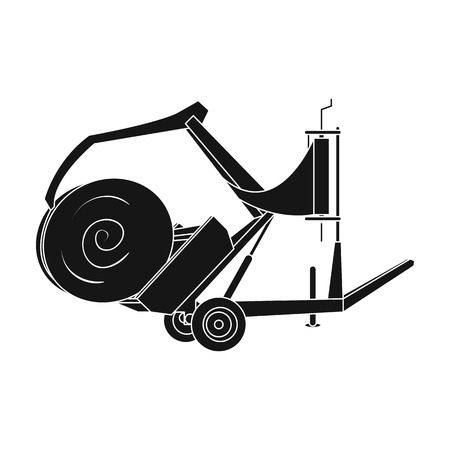 Modern agricultural machinery for  of hay and rolling circles.Agricultural Machinery single icon in black style vector symbol stock illustration. Illustration