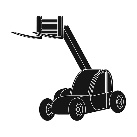 The car lift for loading cargo into the truck for transportation.Agricultural Machinery single icon in black style vector symbol stock illustration.