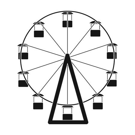 The wheel is in the amusement park. Slow attraction to explore the city.Amusement park single icon in black style vector symbol stock illustration.