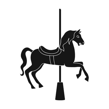 Carousel for children. Horse on the pole for riding.Amusement park single icon in black style vector symbol stock illustration.