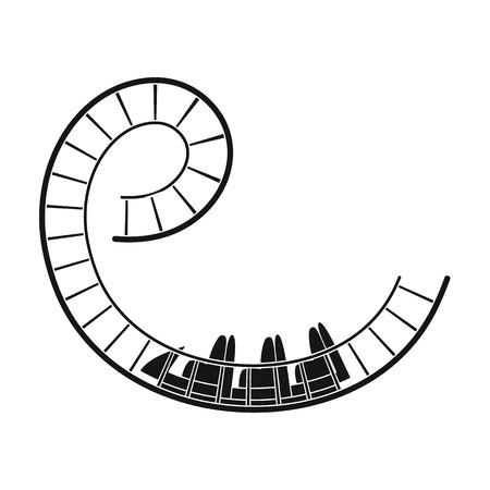 Roller coaster per bambini e adulti. Dead loop, pericolose turni, terribili rides.Amusement park singola icona in nero stile simbolo vettoriale illustrazione stock.