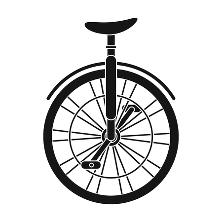 Unicycle for the circus. Bicycle with one wheel for performances.Different Bicycle single icon in black style vector symbol stock illustration.