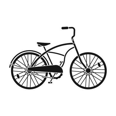 a two wheeled vehicle: Blue two-wheeled bicycle for a ride through the city. Pleasure of transport.Different Bicycle single icon in black style vector symbol stock illustration. Illustration