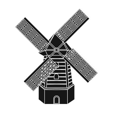 wind mills: Rural wooden mill. Mill for grinding grain into flour.Farm and gardening single icon in black style vector symbol stock illustration.