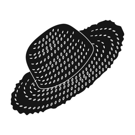 Straw hat for gardener. Headpiece for protection of the sun.Farm and gardening single icon in black style vector symbol stock illustration.