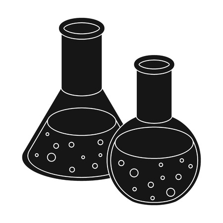 Flasks with reagents. Chemistry in school. Chemically, experiments.School And Education single icon in black style vector symbol stock illustration.