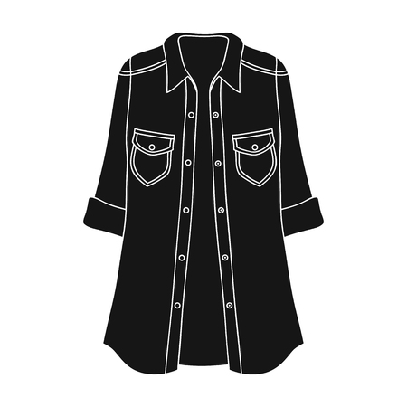 button down shirt: Green Women s jacket with buttons and short sleeves. Casual wear for the stylish woman.Women clothing single icon in black style vector symbol stock illustration.
