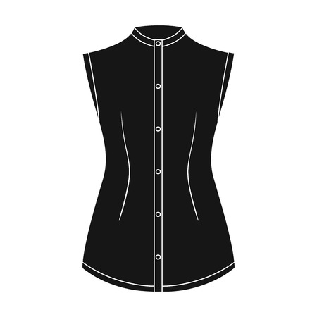 gir: Beige button-down shirt without sleeves for the girl. Casual dress style.Women clothing single icon in black style vector symbol stock illustration.