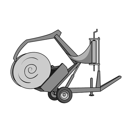 Modern agricultural machinery for  of hay and rolling circles.Agricultural Machinery single icon in monochrome style vector symbol stock illustration.
