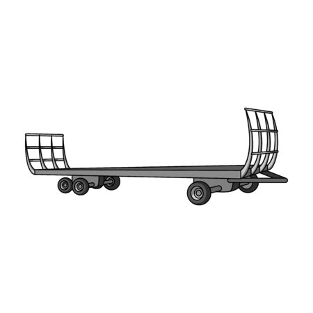 hauling: Specialized trailer on wheels for trucks for transportation of hay bales.Agricultural Machinery single icon in monochrome style vector symbol stock illustration.