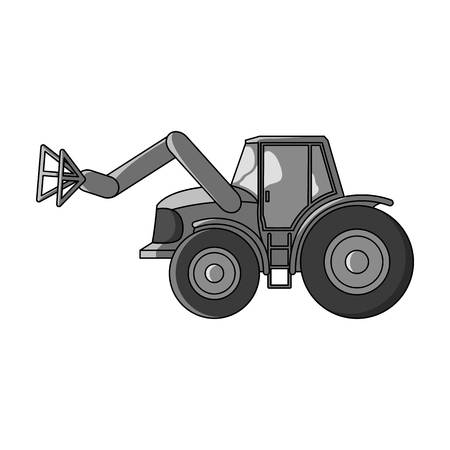 Combine with long hydraulic legs to capture the hay.Agricultural Machinery single icon in monochrome style vector symbol stock illustration.