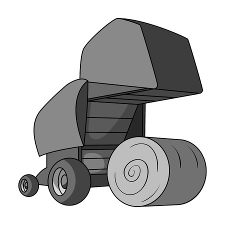Round hay bales. Modern agricultural machinery for  of hay and rolling circles.Agricultural Machinery single icon in monochrome style vector symbol stock illustration. Illustration