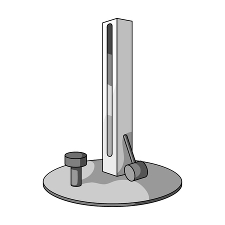 Entertainment on the impact force. Beat the hammer on the stand.Amusement park single icon in monochrome style vector symbol stock illustration.