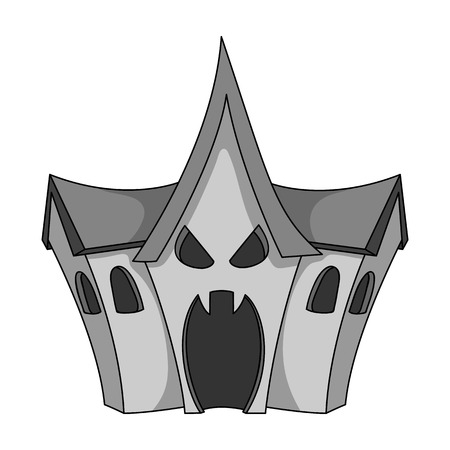 A haunted house, a room of fear in an amusement park. Attraction for the fearless.Amusement park single icon in monochrome style vector symbol stock illustration.