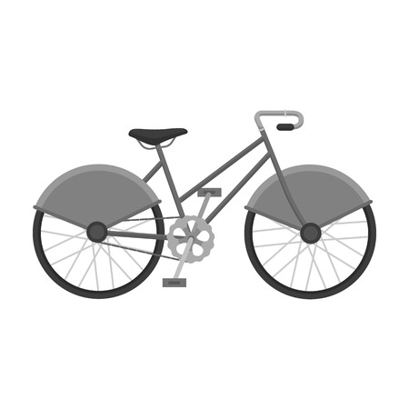 Walking bicycle with large shields and curves driving. Economical transport.Different Bicycle single icon in monochrome style vector symbol stock illustration.