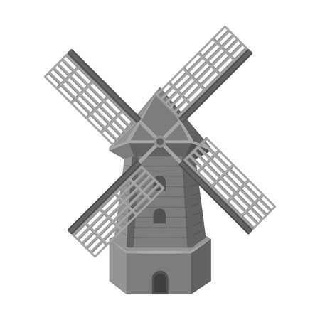 Rural wooden mill. Mill for grinding grain into flour.Farm and gardening single icon in monochrome style vector symbol stock illustration.