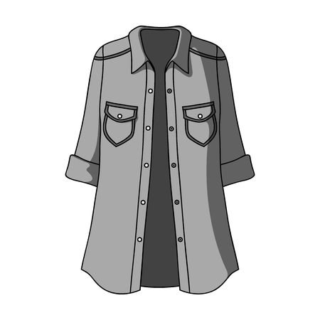 button down shirt: Green Women s jacket with buttons and short sleeves. Casual wear for the stylish woman.Women clothing single icon in monochrome style vector symbol stock illustration.